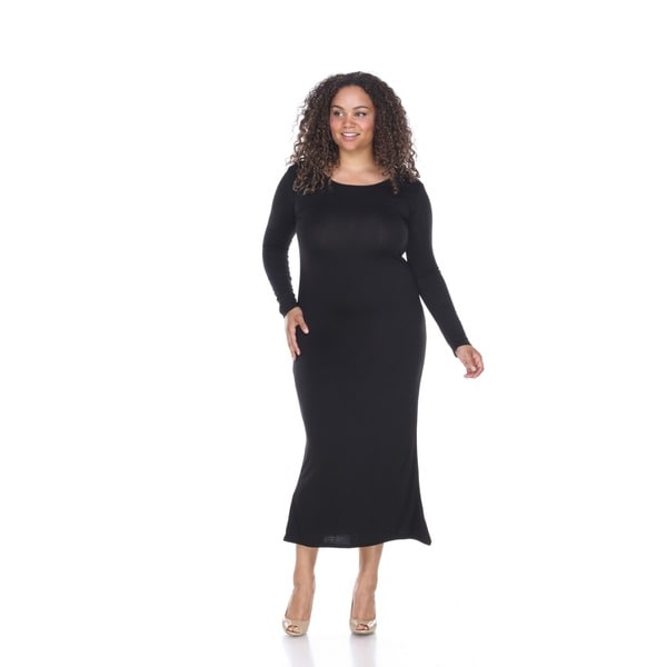white mark plus size long sleeve maxi dress - free shipping on