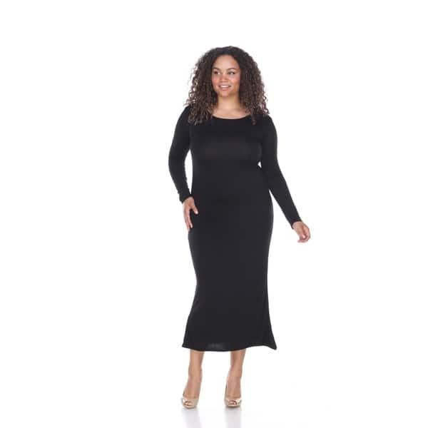 Shop White Mark Plus Size Long Sleeve Maxi Dress - Free ...