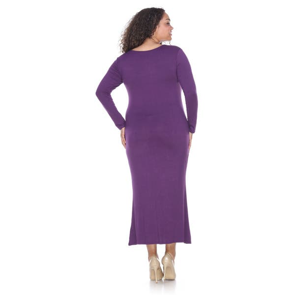 Shop White Mark Plus Size Long Sleeve Maxi Dress - Free ...