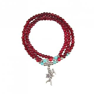 Elastic Red Agate Bracelet/ Necklace with Angel Charm (China)