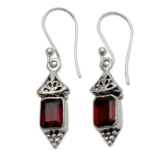 Handmade Sterling Silver 'Red Lantern' Garnet Earrings (India)