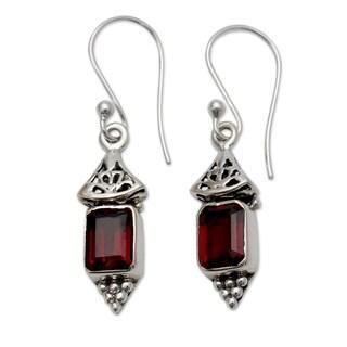 Handmade Sterling Silver 'Red Lantern' Garnet Earrings (India)