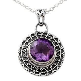 Sterling Silver 'Maharashtra Princess' Amethyst Necklace (India)