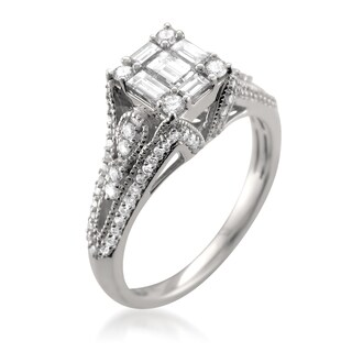 Montebello 14k White Gold 1ct TDW One-of-a-Kind Diamond Ring