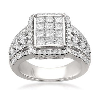 Montebello 14k White Gold 1 1/2ct TDW Princess-cut Composite-set White Diamond Ring