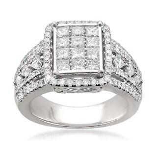 Montebello 14k White Gold 1 1/2ct TDW Princess-cut Composite-set White Diamond Ring