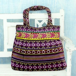 Handcrafted Cotton 'Purple Harmony' Shoulder Bag (India)