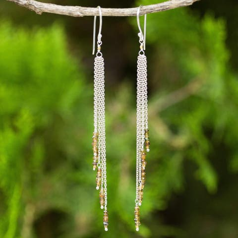 Handmade Gold Overlay 'Power Of Nature' Sapphire Earrings (Thailand)