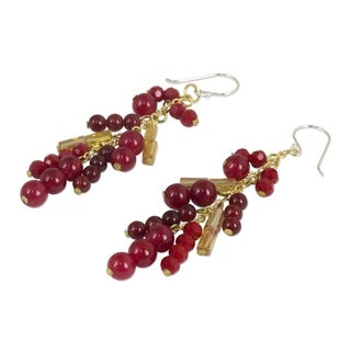 Handmade Gold Overlay 'Brilliant Cascade' Quartz Earrings (Thailand)