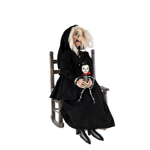 Agetha Witch and Skeleton Joe Spencer Gathered Traditions Art Doll - Black