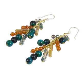 Gold Overlay 'Cascade' Carnelian Serpentine Earrings (Thailand)