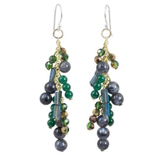 Gold Overlay 'Brilliant Cascade' Labradorite Earrings (Thailand)