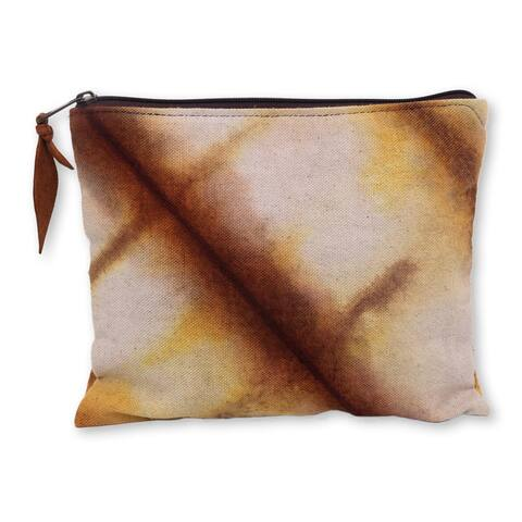 Handmade Cotton 'Jogjakarta Brown' Clutch Handbag (Indonesia)