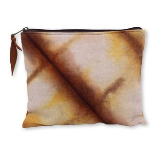 Handmade Cotton 'Jogjakarta Brown' Clutch Handbag (Indonesia)
