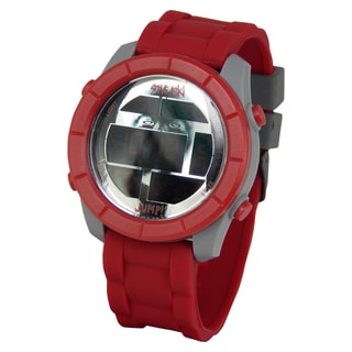 Steve Aoki Round Face Red Digital Watch