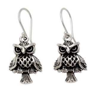 Handcrafted Sterling Silver 'Owl at Midnight' Earrings (India)