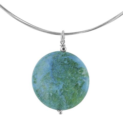 Ashanti Blue Green Jasper Gemstone Sterling Silver Pendant with a Stainless Steel Handmade Neckla (Sri Lanka)