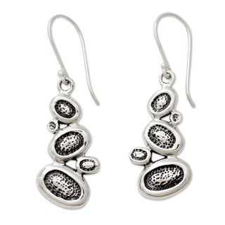 Handcrafted Sterling Silver 'Pebbles on The Beach' Earrings (India)