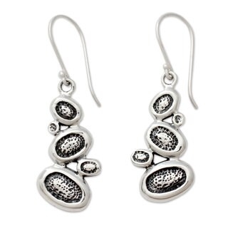 Handmade Sterling Silver 'Pebbles on The Beach' Earrings (India)
