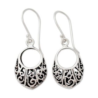 Handcrafted Sterling Silver 'Floral Basket' Earrings (India)