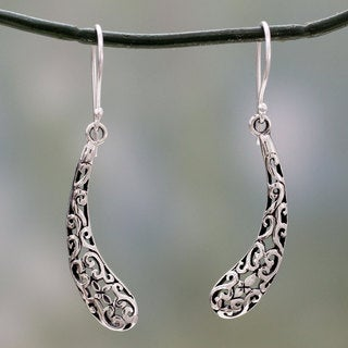 Handcrafted Sterling Silver 'Jali Leaf' Earrings (India)