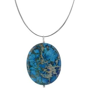 Ashanti Blue Ocean Jasper Oval Shaped 120 Carat Gemstone Sterling Silver Handmade Necklace (Sri Lanka)