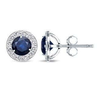 Auriya 14k Gold 1ct Blue Sapphire and 1/2ct TDW Halo Diamond Stud Earrings