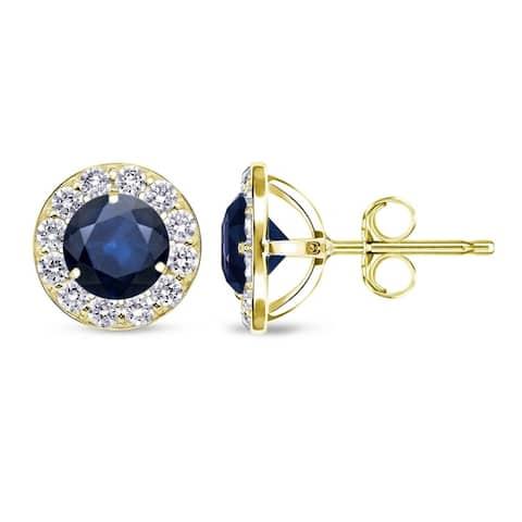 Auriya 3/5ct Blue Sapphire Halo Diamond Stud Earrings 2/5cttw 14k Gold