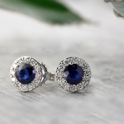 Auriya 14k Gold 1/2ct Blue Sapphire and 1/3ct TDW Halo Diamond Stud Earrings