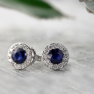 Auriya 14k Gold 1/2ct Blue Sapphire and 1/3ct TDW Round-Cut Diamond Halo Stud Earring (H-I, SI1-SI2)