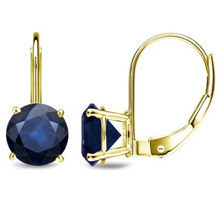14k Yellow Gold Round Solitaire 1/2ct to 3ct Blue Sapphire Dangle Earrings by Auriya