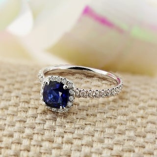 Auriya Cushion 1ct Sapphire and 1/2ct TDW Diamond Halo Engagement Ring 14K Gold