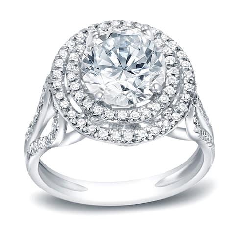 Auriya 14k Gold 1 3/4ctw Round Halo Diamond Engagement Ring