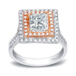 Auriya 14k Two-Tone Gold 2ct TDW Certified Princess-Cut Diamond Ring (H-I, SI1-SI2)