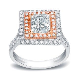 Auriya 14k Two-Tone Rose Gold 2ct TDW Certified Princess-Cut Halo Diamond Engagement Ring