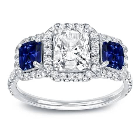 Auriya Unique 3/4ct Blue Sapphire and 1 1/2ctw Radiant Halo Diamond Engagement Ring 14k Gold