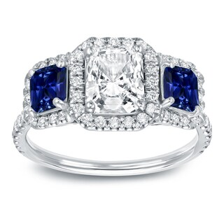 Auriya 14k White Gold 3/4ct Sapphire and 1 1/2ct TDW 3-Stone Radiant Halo Diamond Engagement Ring