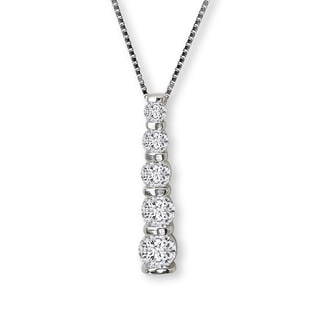 Avanti Sterling Silver Cubic Zirconia Linear Journey Necklace