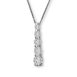 Avanti Sterling Silver Cubic Zirconia Linear Journey Necklace