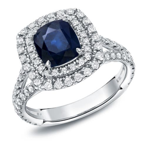 Auriya 1 1/2ct Cushion Cut Blue Sapphire and 1ctw Halo Diamond Engagement Ring 18k White Gold