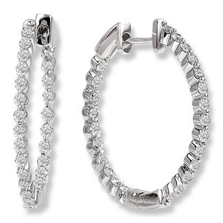 Avanti 14K White Gold 1 1/2ct Inside Out Diamond Hoop Earrings (G-H, SI2-SI3)