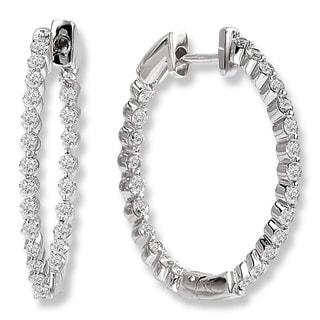 14K White Gold 1 1/2ct Inside Out Diamond Hoop Earrings (G-H, SI2-SI3)