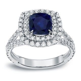 Auriya 18k White Gold 1 1/4ct Sapphire and 1ct TDW Halo Diamond Engagement Ring