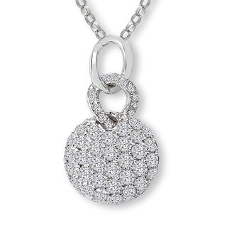 Avanti 14K White Gold 5/8ct TDW Round Dangle Pave Diamond Double Link Necklace (G-H, SI2-SI3)