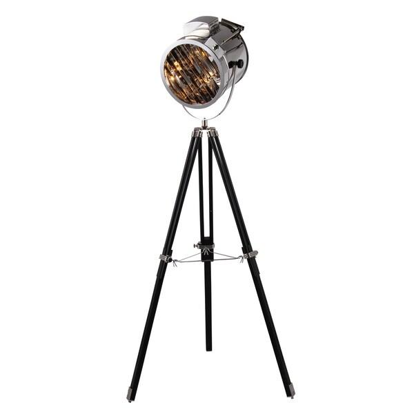Elegant Lighting Ansel Tripod Floor Lamp with Chrome and Black Finish