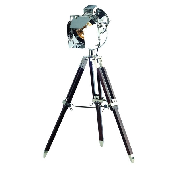 Elegant Lighting Ansel Tripod Floor Lamp with Chrome and Brown Finish