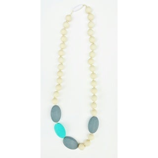 Pretty Little Stye Turquoise and Grey BPA Free Silicone Sideways Teething Necklace