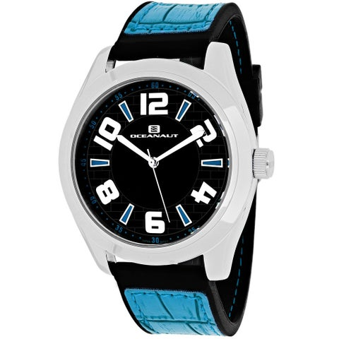 Oceanaut Men's Vault Round Blue Leather and Silicone Strap Watch