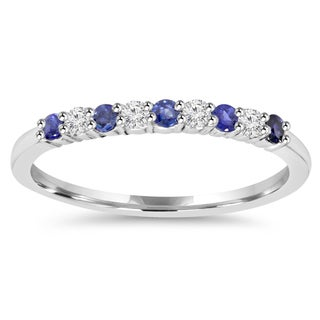 10k White Gold 1/4 ct TW Blue Sapphire and Diamond Wedding Ring