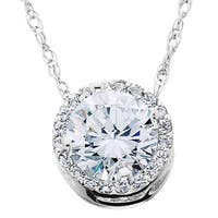 14k White Gold 1/2ct TDW Round Diamond Halo Pendant